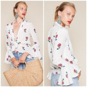 Stone Cold Fox Tops - Stone Cold Fox Silk Radical Blouse Floral Bell